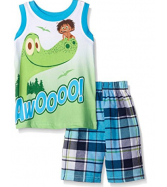Disney Baby Boys' 2 Piece Plaid Muscle T-Shirt Short Set