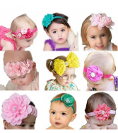 Elesa Miracle Baby Girl Headbands and Barefoot Flower Sandals Va