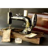 Needle-Sharp PATINA Antique NEW HOME Portable Electric SEWING MA