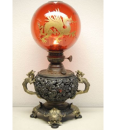 ANTIQUE GILT DRAGON KEROSENE OIL CHINESE JAPANESE LAMP CRANBERRY