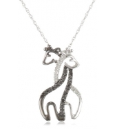 Vòng cổ XPY 10k White Gold Black and White Giraffe Couple Dia