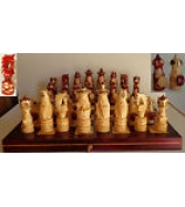 VINTAGE POLISH RUSSIAN WOOD FIGURAL CHESS SET HAND CARVED 32 BOA