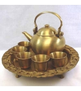 7 Pcs Tea Set Cup Pot Tray Contained Brass Decorative Thai Art A