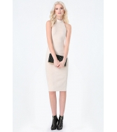 FAUX SUEDE CRISSCROSS DRESS