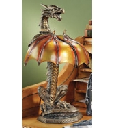 DRAGON Illuminated Sculpture Resin Fantasy Table Accent Dragon L