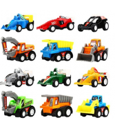 Pull Back Vehicles,12 Pack Assorted Construction Vehicles