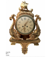 Antique Swiss Nautical Giltwood Wall Clock ~ Cartel