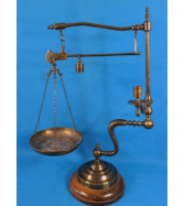 Vintage Brass Scale w/ Weight & Candle Holder made in Italy
